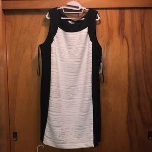 Calvin Klein black and white sheath dress NWT